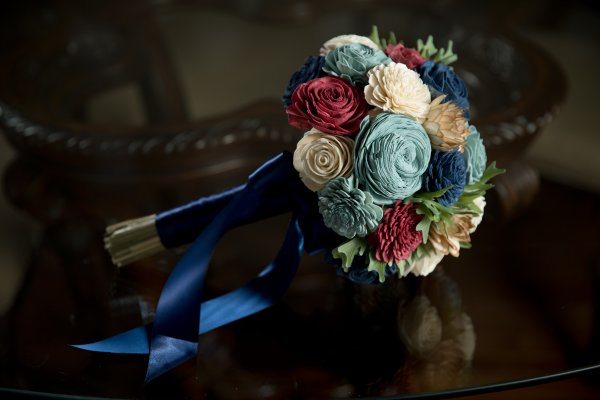 Navy, red, and white wood flower bridal bouquet